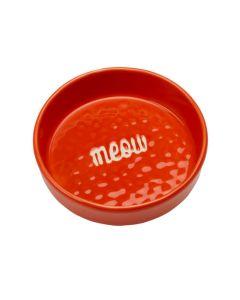 Meow madskål til kat i friske farver-Rød
