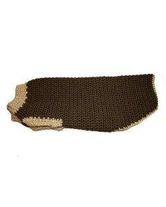 Håndlavet hundesweater -Ryg 38 cm-Brun/beige
