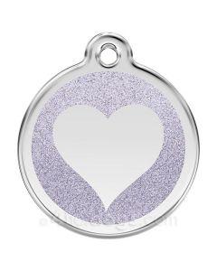 Glimmer - hjerte medium-Sølv