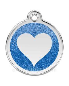 Glimmer - hjerte medium-Mørkeblå