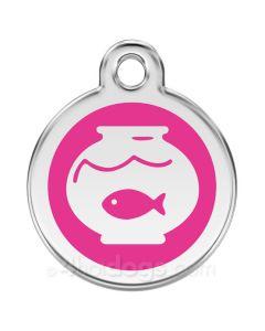 Kattetegn med fiskebowle-Hot pink