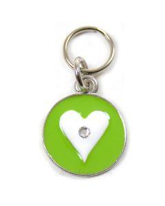 Luksus hundetegn m.krystal i hjertet -Grøn-S
