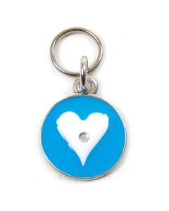 Luksus hundetegn m.krystal i hjertet -Blå-L