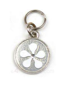 Hundetegn med tofarvet blomst og sten-Hvid/sølv-S