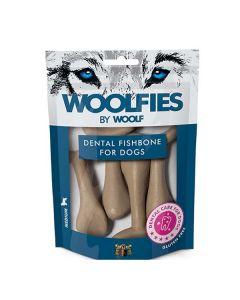 Hundegodbid Woolfies dental fiskeben, medium 200g