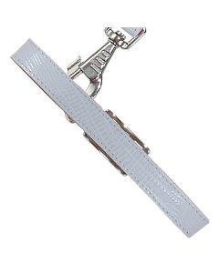 Læderhalsbånd med præg af firben -Hvid-L
