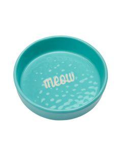 Meow madskål til kat i friske farver-Aqua