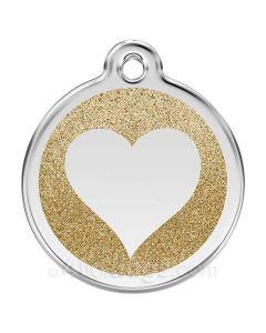 Glimmer - hjerte large-Guld