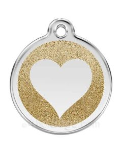 Glimmer - hjerte medium-Guld