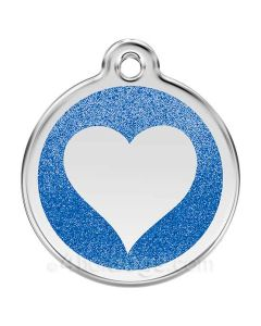 Glimmer - hjerte large-Mørkeblå