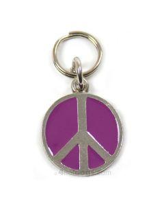 Emaljeret hundetegn med peacetegn-Lavendel-S