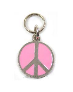Emaljeret hundetegn med peacetegn-Pink-M