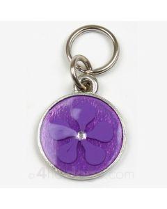 Hundetegn med tofarvet blomst og sten-Lavendel/lilla-S