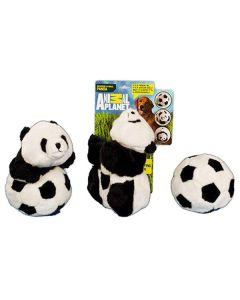 Hundelegetøj, panda og bold i et
